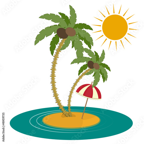 Palm Trees and Island on White Background