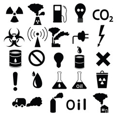 set of icons: pollution, industrial, hazardous