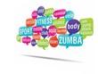 nuage de mots bulles 3d : fitness, zumba