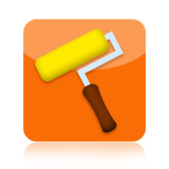 Home renovation icon with paint roller