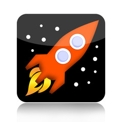 Spacecraft icon with rocket and stars