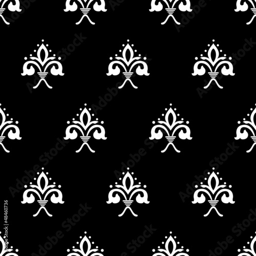Black-white baroque style seamless pattern