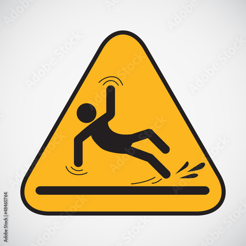 Wet floor caution sign. Vector illustration.