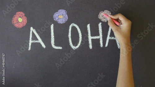 Aloha Hawaii Chalk Drawing