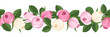 Vector horizontal seamless background with rose buds.