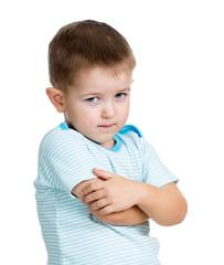 boy kid upset isolated on white background