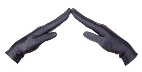 Female hands in gloves showing home