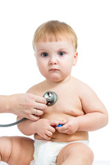 Pediatric doctor examining baby boy with stethoscope isolated on