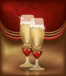 Love card with champagne, vector illustration