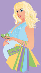 Beautiful pregnant woman  with baby socks, vector