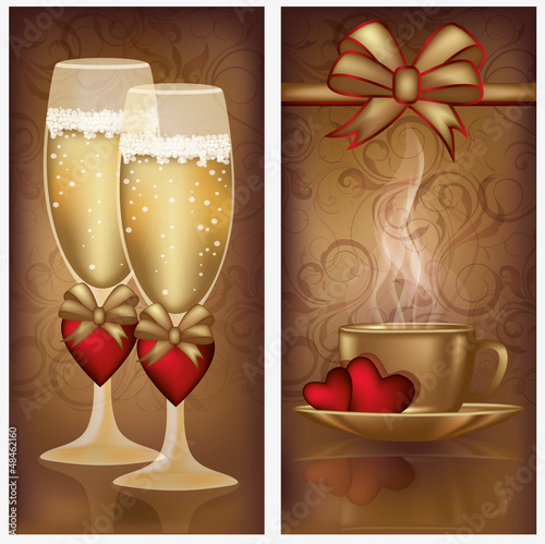 Two valentines day banners, vector illustration