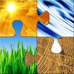 Umweltpuzzle - Vier Puzzelteile
