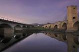 Medieval Bridge at Dusk. Frias, Burgos Spain. poster