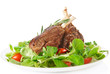 Rare fried rack of lamb isolated on white