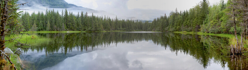 Alaska Juneau Lake near Mendhenall Glacier huge panorama