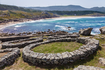 Celtic castro of Baroña in the province of La Coruña, Spain