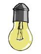 hand drawn, vector, cartoon image of light bulb