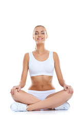 Serene happy woman meditating