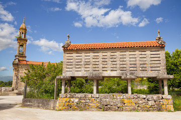 Typical horreo (granary) in the province of La Coruña, Spain