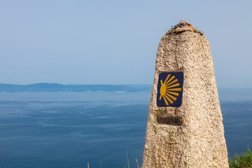 0 km, last end of Camino de Santiago, in cape Finisterre, Spain