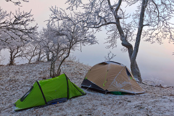 touristic camp in a winter mountains