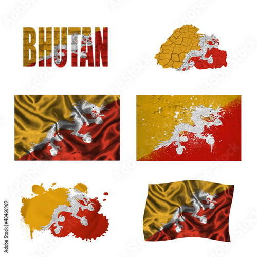 Bhutan flag collage