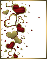 Golden, red hearts on a white background