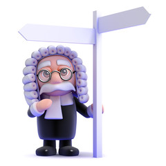 Judge stands by the road sign