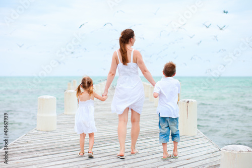 Mother and kids at seaside