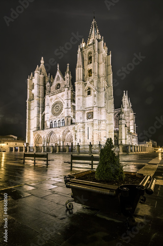 Cathedral of Leon in a foggy night, Castilla y Leon, Spain