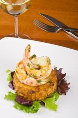 Garlic Shrimps, Latke and a Glass of White Wine
