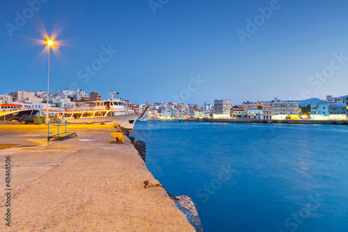 Harbor of Agios Nikolaos at night on Crete, Greece