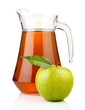 Jug of apple juice with ripe fruits isolated on white