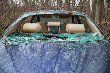 car accident with destroyed glass