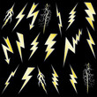 Gold Lightning strike sign set on black.