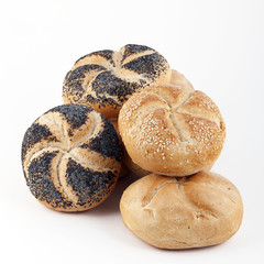 Assortment of fresh Kaiser rolls