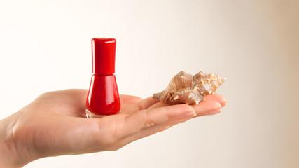 Rotes Nagellackfläschchen mit Muschel auf Handfläche