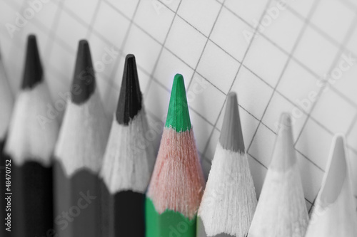 go green, single coloured pencil in bw image