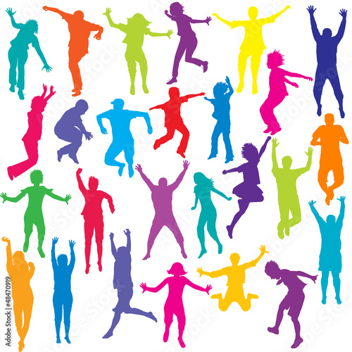 Set of colored people and children silhouettes jumping