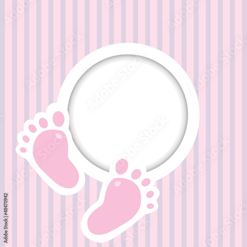 Background with two child foot steps and place for text