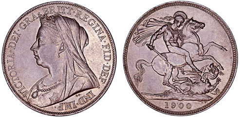 Close-Up of old British Victoria silver Crown coin