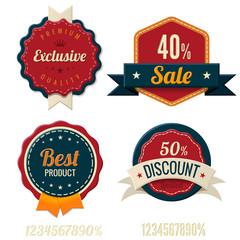 Vintage Labels template set. Sale, discount theme. Retro design