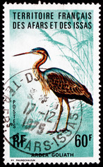 Postage stamp Afars and Issas 1975 Goliath Heron, Ardea Goliath,