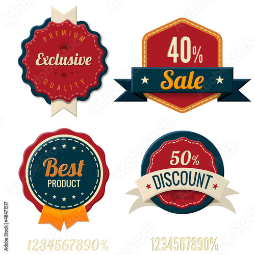 Vintage Labels template set. Sale, discount theme. Retro design
