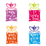 4 colourful giftboxes