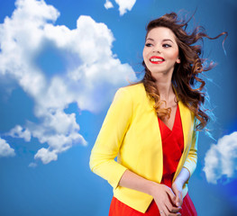 Colorful  portrait of a beautiful happy young woman