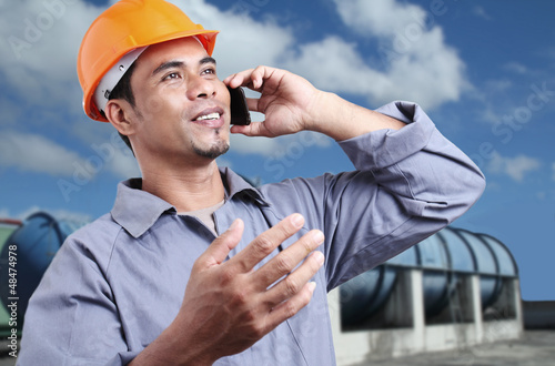 Worker With A cellphone