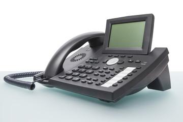 modern voip phone on desk