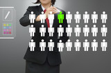 Choosing the talented person for hiring in magnifying poster