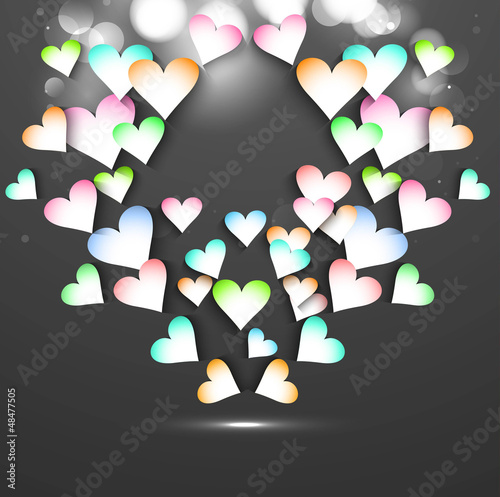 Beautiful design with colorful hearts card vector